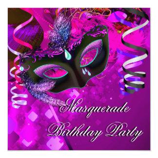 Rose pourpre de masque de partie de mascarade carton d'invitation  13,33 cm