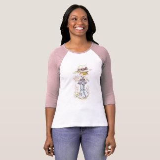 Rose raglan/blanc de douille de ¾ de Sarah Kay T-shirt
