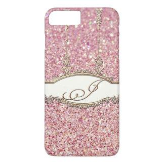 Rose rococo baroque de scintillement du monogramme coque iPhone 7 plus