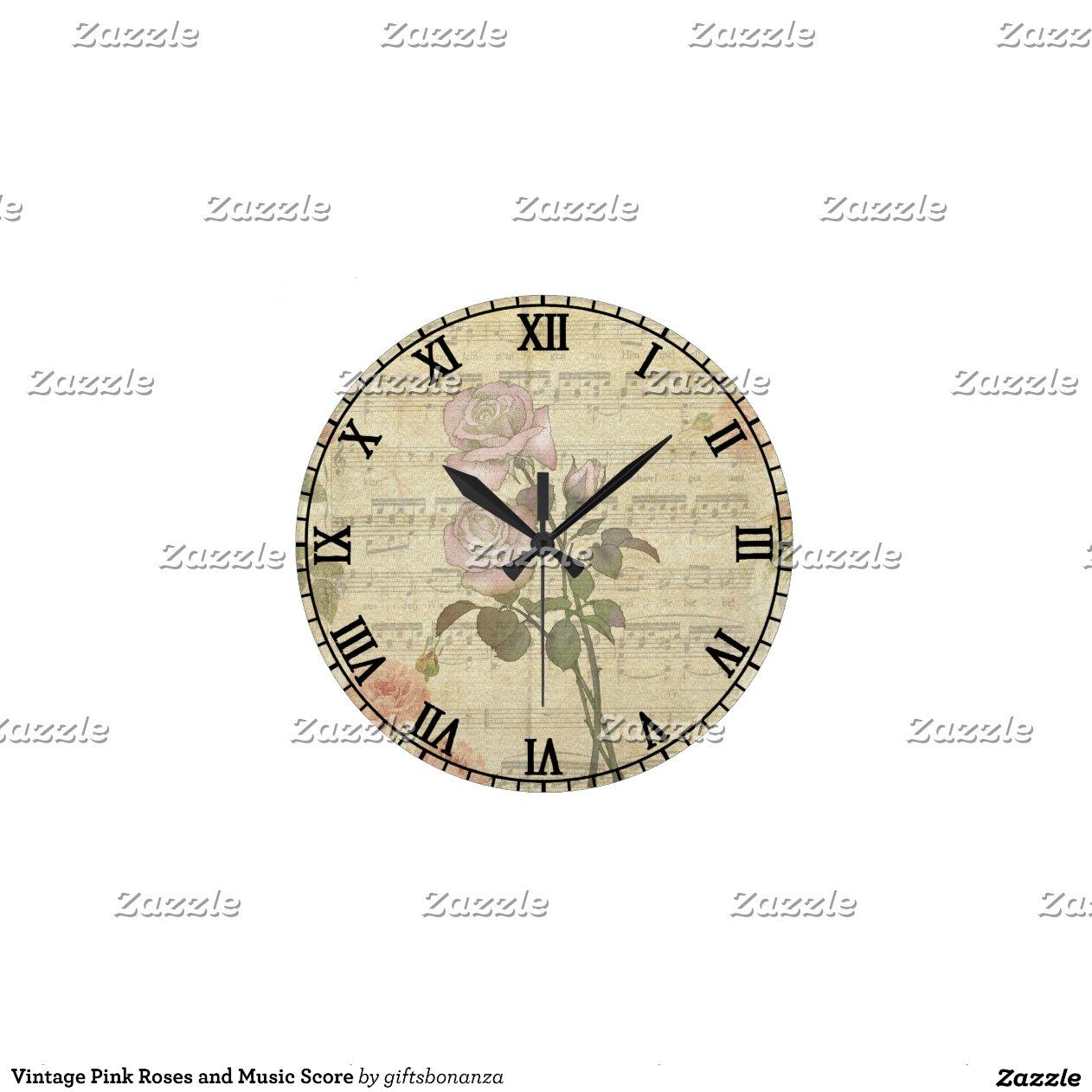 romantique vintage de et score de musiqu horloges murales zazzle
