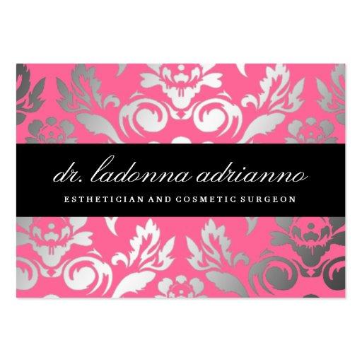 Rose rose de damassé de 311 Ladonna Modèle De Carte De Visite