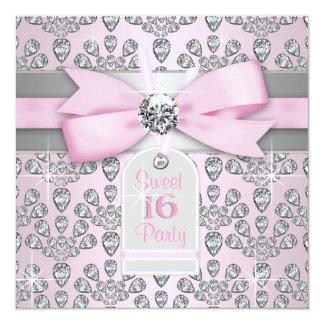 Rose rose de diamant et anniversaire gris du carton d'invitation  13,33 cm