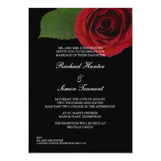 Rose rouge chic épousant Invitiation - noir Carton D'invitation 12,7 Cm X 17,78 Cm
