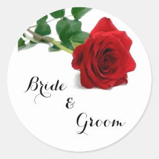 Rose rouge d'aquarelle - autocollant de roses