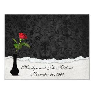 Rose rouge épousant la Chambre ouverte Carton D'invitation 10,79 Cm X 13,97 Cm