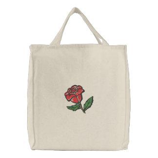 Rose rouge Fourre-tout Sacs Brodés