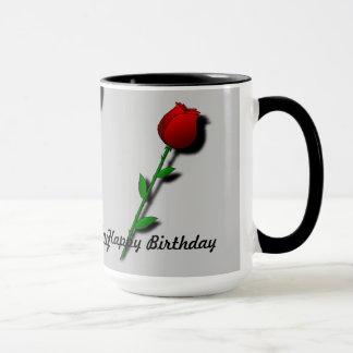"Rose rouge ""joyeux anniversaire "" tasse"