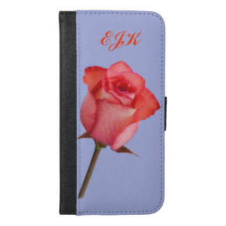 Rose rouge, monogramme personnalisable