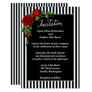 Rose rouge noir et blanc élégant épousant carton d'invitation  12,7 cm x 17,78 cm