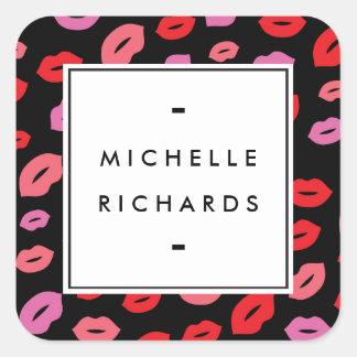 Rose/rouge/noir fascinants de beauté de maquilleur sticker carré