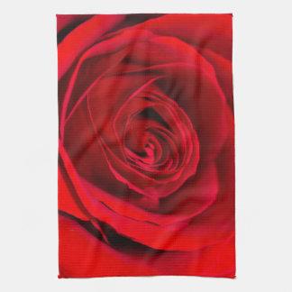 Rose rouge romantique serviettes pour les mains