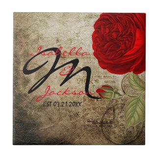 Rose rouge vintage de monogramme sur l'arrière - petit carreau carré