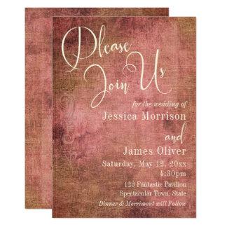 Rose rustique et typographie vintage de toile de carton d'invitation  12,7 cm x 17,78 cm