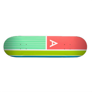 Rose saumoné et rayé vert de Seafoam ; Rayures Skateboard