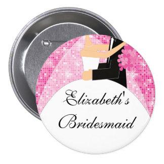 Rose scintillant du bouton de demoiselle d'honneur badge rond 7,6 cm