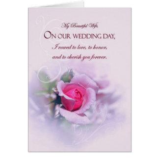 Rose sentimental de rose d'anniversaire de mariage carte de vœux