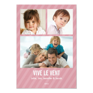 Rose Triple carte de photo de vacances Carton D'invitation 12,7 Cm X 17,78 Cm