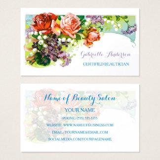 Rose vintage certifié de rose d'esthéticien floral cartes de visite