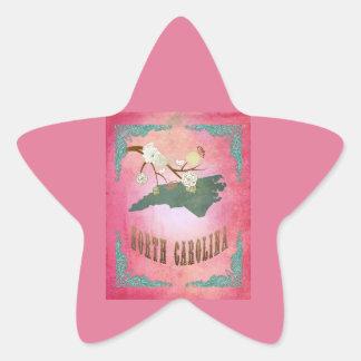 Rose vintage de sucrerie de carte d'état de la sticker étoile