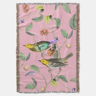 Rose vintage d'oiseau chanteur couvre pied de lit