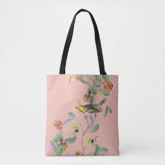Rose vintage d'oiseau chanteur sac
