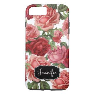Rose vintage élégant chic, rouge, nom floral de coque iPhone 7 plus