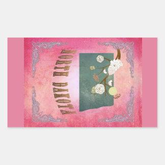 Rose vintage moderne de sucrerie de carte d'état sticker en rectangle