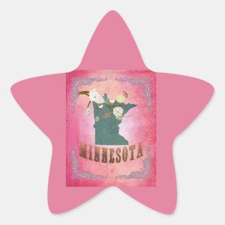 Rose vintage moderne de sucrerie de carte d'état sticker étoile