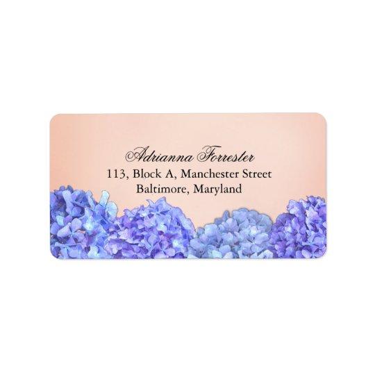 Rose violet chic d'hortensias étiquettes d'adresse