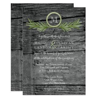 Rosemary et mariage en bois rustique carton d'invitation  12,7 cm x 17,78 cm