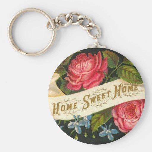 Roses à la maison doux à la maison victoriens porte-clé