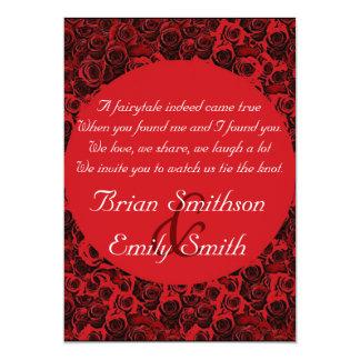 Roses artistiques blancs noirs rouges épousant des carton d'invitation  12,7 cm x 17,78 cm