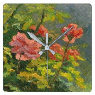 Roses au coucher du soleil horloge carrée