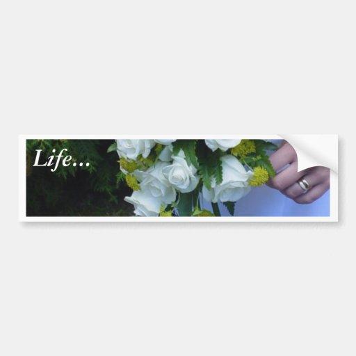 Roses blancs de bouquet de mariage autocollant de voiture