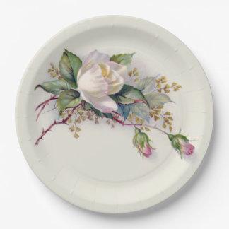 Roses blancs et roses vintages Plate2 de papier Assiettes En Papier