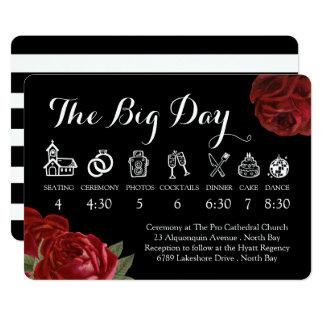 Roses blancs et rouges noirs épousant la carton d'invitation  12,7 cm x 17,78 cm