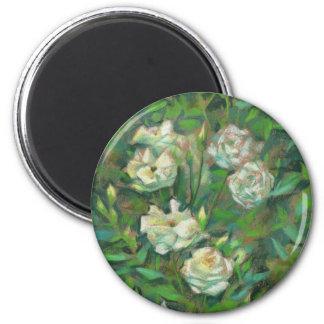 """Roses blancs, feuille vert"", belles fleurs Magnet Rond 8 Cm"
