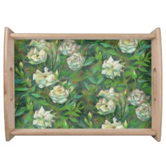 """""""Roses blancs, feuille vert"""", belles fleurs Plateau Repas"""