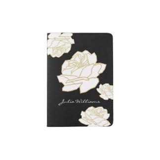 roses blancs/floral gentil et sensible protège-passeport