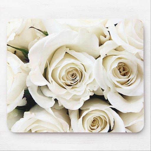 Roses blancs Mousepad Tapis De Souris