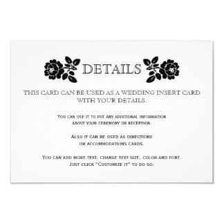Roses blancs noirs épousant la carte d'insertion carton d'invitation 8,89 cm x 12,70 cm