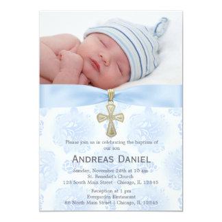 Roses bleus de baptême avec la photo carton d'invitation  12,7 cm x 17,78 cm