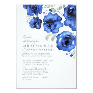 Roses bleus épousant - invitations d'aquarelle carton d'invitation  12,7 cm x 17,78 cm