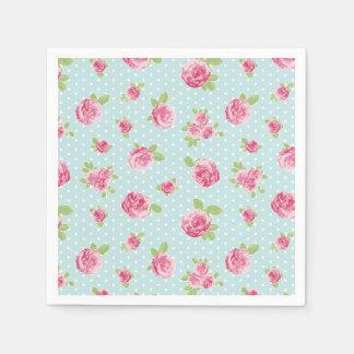 Roses chics minables de serviette florale vintage serviette en papier