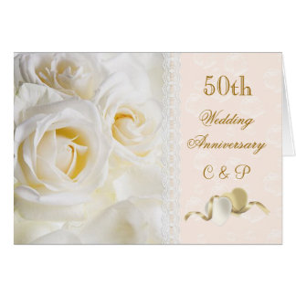 Roses crèmes blancs, anniversaire de mariage de co carte de vœux