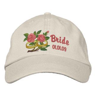 Roses d'anneau de mariage - jeune mariée casquette brodée