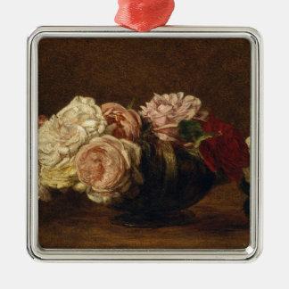Roses dans une cuvette - Henri Fantin-Latour Ornement Carré Argenté