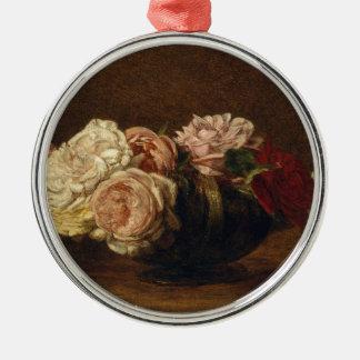 Roses dans une cuvette - Henri Fantin-Latour Ornement Rond Argenté