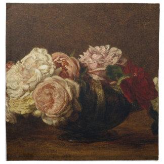 Roses dans une cuvette - Henri Fantin-Latour Serviette Imprimée