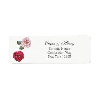 Roses d'aquarelle épousant les étiquettes de